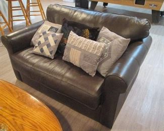 Brown Leather Love Seat /  Sleeper