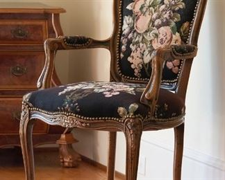 French provincial needlepoint chair 20th c