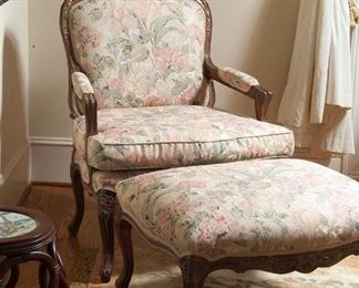 Contemporary French provincial chair & ottoman