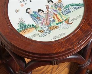Chinese drum stool/table with porcelain top