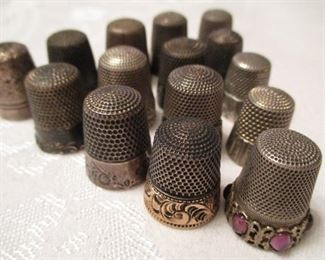 ANTIQUE STERLING SILVER THIMBLE COLLECTION