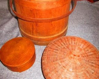 Antique Firkin, Sewing Basket, Pantry Box