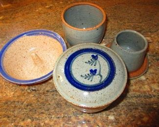 Studio Pottery Apple Bake Dish & French Butter Containers