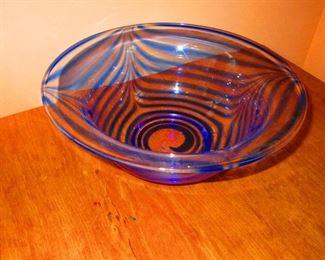 Art Glass Bowl with Cobalt Swirl