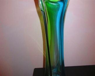 Pulled Mid Century Art Glass Vase