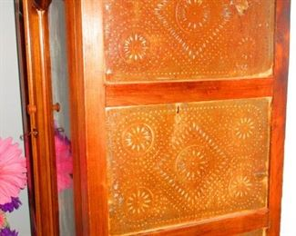 Detail of 19th c. Cabinet with Stamped Tin Sides