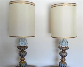 1940s Tall bedroom lights with ceramic flowers
