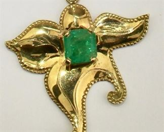 Emerald and 18k Gold Starfish necklace
