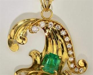 18k, Emerald and Diamond necklace