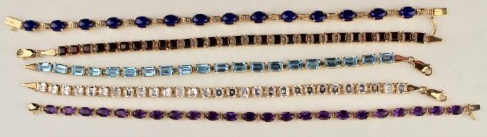14k gold and gemstone bracelets