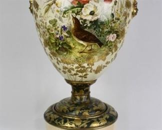 Monumental French Porcelain Vase and Pedestal
