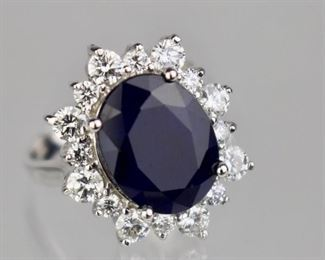 14k Sapphire and Diamonds