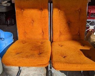 Retro orange and chrome  chairs