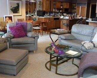 Classic Leather Sofa & Club Chairs