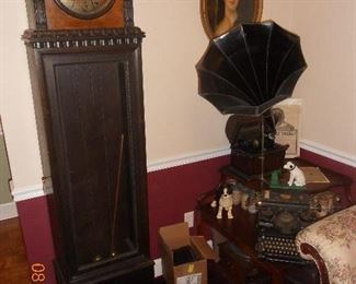 German Grandfather Clock, Edison Phonograph with Cylinders
