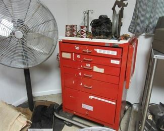 red tool box, large floor fan