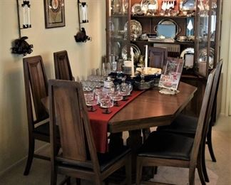 .MidCentury Modern Dining Set  Walnut Table 2 leaves  Pads to protect 6 Chairs and 2 piece China Cabinet.