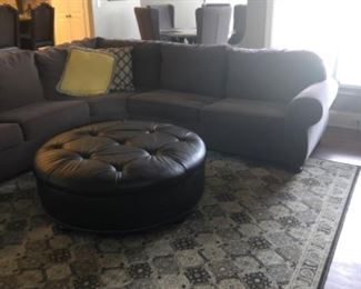 Like New Thomasville  Sectional and Leather Ottoman