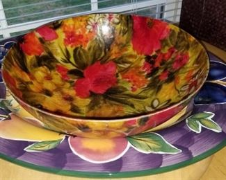 Colorful bowl and serving platter