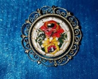 Italian Flower Mosaic Pin