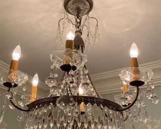260. Antique 6 Candle Crystal Chandelier