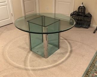 MCM Leon Rosen Pace Collection Square Glass Table w/ Chrome Accent