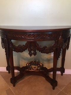 ornate carved wooden console table