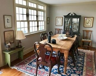 Fantastic Farm Table with Turned Legs.  19th c. Set of (6) Carved Eagle Head Dining Chairs, Antique Side Chairs, Swedish Painted Glass Front Cabinet, Country Painted Bench...