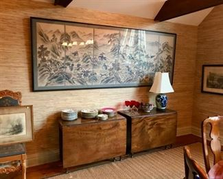 Six Panel Asian Painting, Collection of Asian Paintings, Objects, Pair of 19th c. attachable dining tables, Fine Porcelain, .....