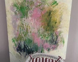 Modernist Paintings, White Wicker furniture