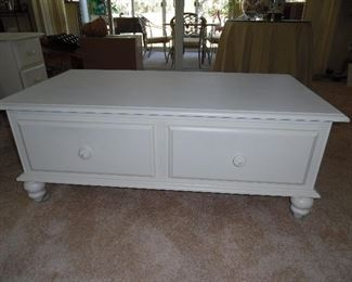 cottage white coffee table with 2 drawers