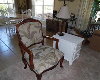 Bergere chair, wood frame, tropical print