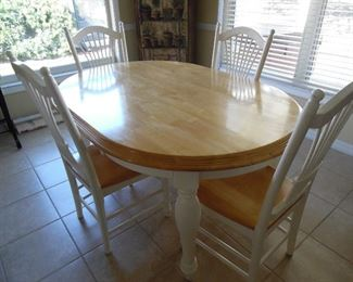 Cottage white, oval dinette set, 4 wood chairs