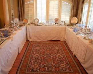 Tables of silver and crystal