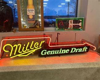 Beer signs neon Miller genuine draft