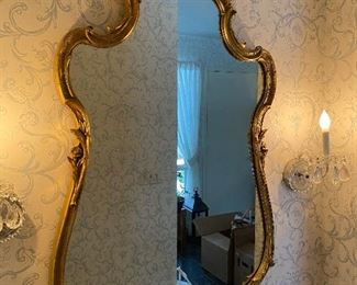 Antique wall mirror wood frame gold gilded