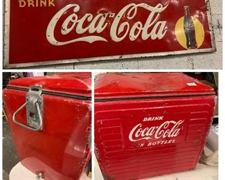 Coca Cola cooler and sign