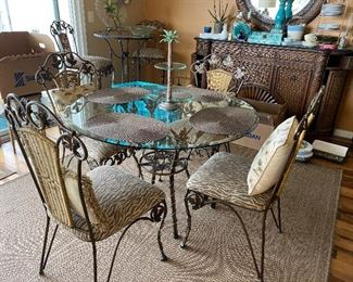 Glass Top Dining Room Table, 4 Chairs, Rug