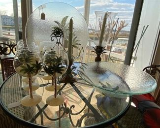 Palm Tree Wine Glasses, Plate & Bowl