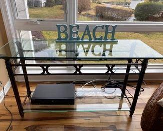 "Glass Top Sofa Table & ""BEACH"""