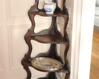 Wood Corner Shelving Unit with Decorative Items