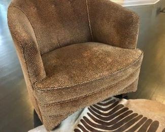 Leopard Print Club Chair Faux Zebra Hide Rug(not for sale)