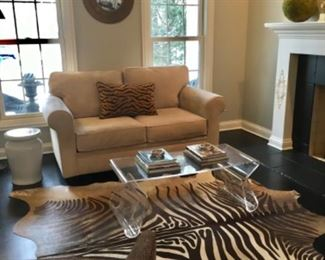Living Room                                                                                            Faux Zebra Hide Rug(not for sale)