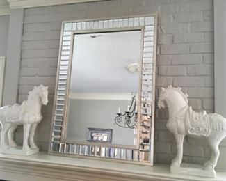Modern Statement Mirror Framed with Beveled Mosaic Mirrored Pieces White Ceramic Imperial Horses (pair)