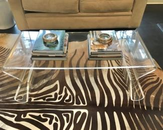 Modern Acrylic Coffee Table Faux Zebra Hide Rug(not for sale)