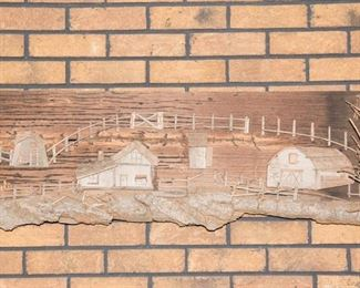 Carved Wood Farm Scene Wall Hanging