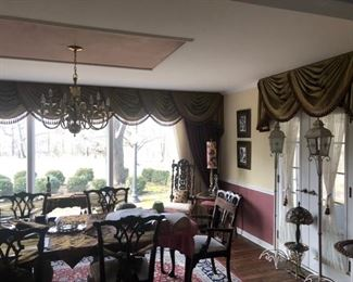 Formal Dining Room Furniture and window treatments  Chippendale style