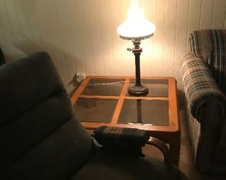 Glass and wood end table