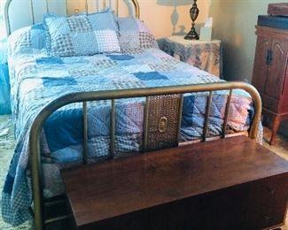 Antique iron bed, lane cedar chest, round table with lamp