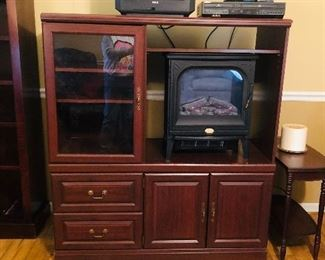 Entertainment console with tv and electric  fireplace